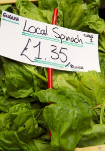 Detail of spinach for sale on Bristol market stall, Bristol, Bristol, England.