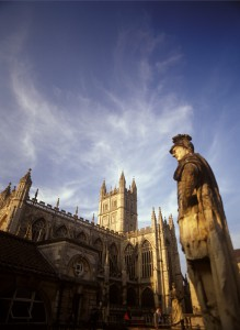 Late afternoon sunlight on the walls of Bath Abbey, a grade I listed building in the centre of the city.