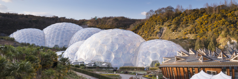 The Eden Project is a huge park open to the public. It has two huge biomes, which create a tropical and temperate zone under which millions of plants now grow. Opened in 2001, it is a major visitor attraction in England.